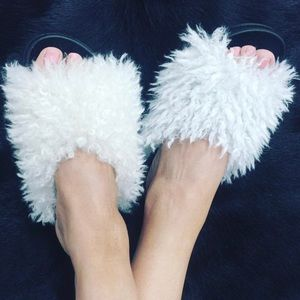 New Slides With Shaggy Faux Fur